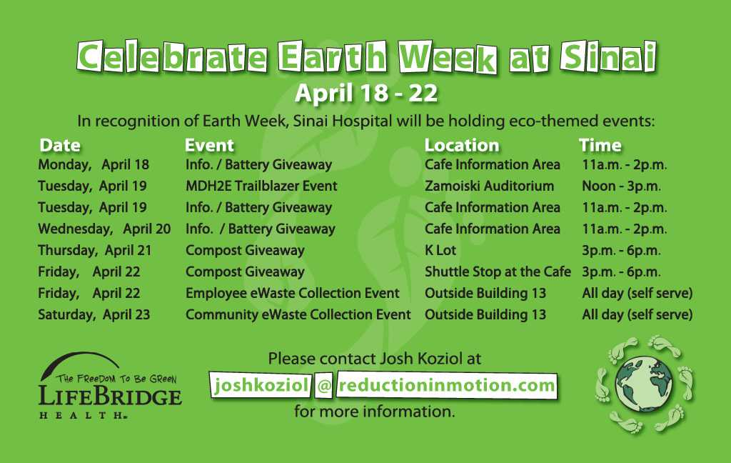 Sinai hospital celebrates earth week with eco themed for Facts about going green